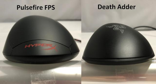 上面比較(左:Pulsefire FPS 右:DeathAdder)