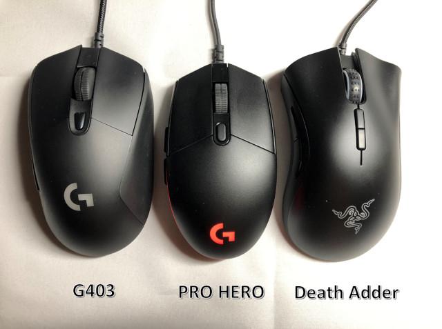 左:G403 真ん中:PRO HERO 右:DeathAdder