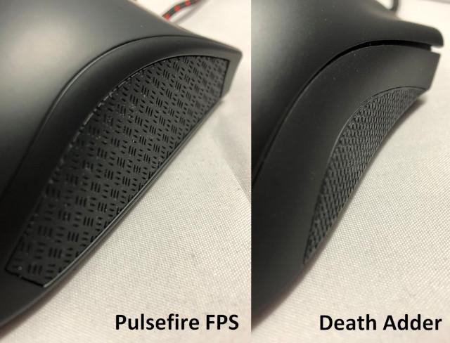 右サイド比較(左:Pulsefire FPS 右:DeathAdder)