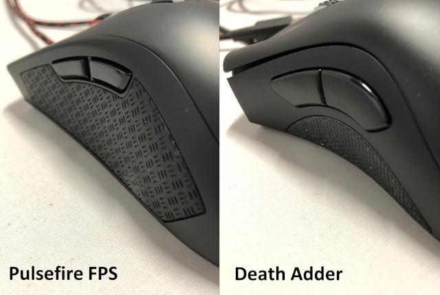 左サイド比較(左:Pulsefire FPS 右:DeathAdder)
