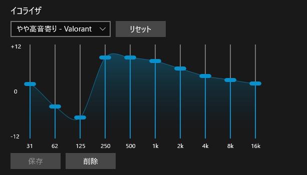やや高音寄り - Valorant向けイコライザー