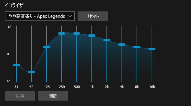 やや高音寄り - Apex Legends向けイコライザー