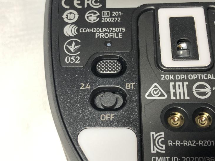 PROFILEボタン、接続方式切替スイッチ